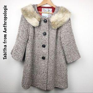 Tabitha Anthropologie tweed wool coat 8